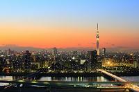 東京都 夕暮れの東京スカイツリーと街並み