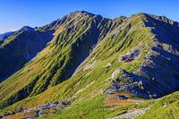 山梨県 北岳稜線より草紅葉の間ノ岳と中白峰 南アルプス
