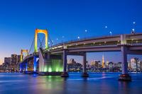 東京都 レインボーブリッジと高層ビル群の夕景
