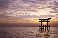 滋賀県 白鬚神社の日の出と琵琶湖