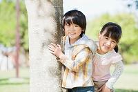 木の横に立つ男の子と女の子