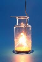 酸素中で燃えるスチールウール