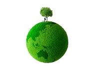 緑の地球の上の男性と犬