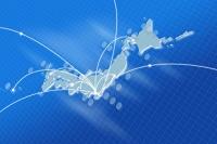日本地図とネットワークイメージ CG