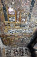 インド アジャンター石窟群 第1窟 天井に描かれた絵