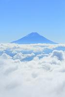 山梨県 櫛形山林道 朝の富士山と雲海