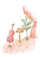 バイオリン 楽譜 観葉植物 カーテン