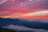 長野県 八方尾根より雲海の山並と朝焼け