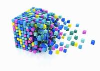 バラバラになったキューブブロック