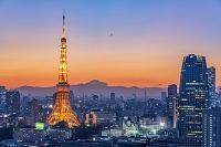 日本 東京都 東京タワーと富士山