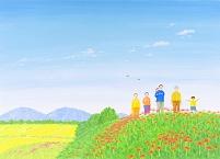 イラスト ヒガンバナの花畑を歩く三世代家族
