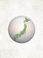 日本を描いた和紙風の地球儀