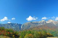 長野県 岩岳から唐松岳左と白馬鑓ケ岳・杓子岳右の山