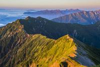 富山県 鹿島槍ヶ岳より朝の稜線