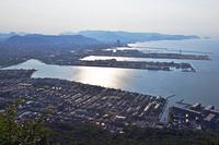 香川県 八島から見た高松港