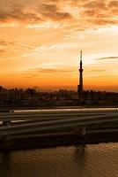 東京都 富士山とスカイツリーの夕焼け