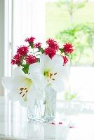 花瓶のユリとモナルダの花