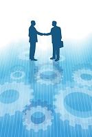 握手するビジネスマンと歯車 CG