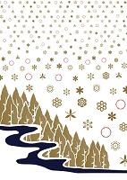 雪の結晶と冬の森 イラスト
