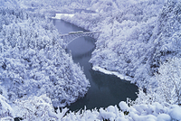 福島県 雪に覆われた只見線