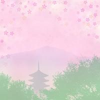 五重塔と桜模様