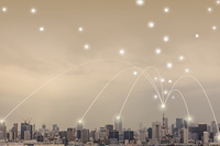 東京都 東京タワーとビル群と光のネットワーク 合成