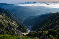 唐松岳山頂から見る雪渓
