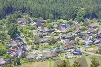 京都府 美山町かやぶきの里 一斉放水(防災訓練)