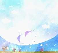 イラスト 海で跳ねるイルカ