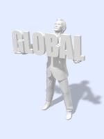 GLOBAL文字オブジェを持つビジネスマン