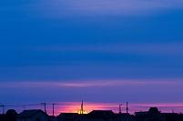 北海道 住宅街の朝焼け