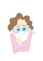 イラスト 花粉症に悩む中高年女性
