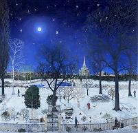 Moonlight park snow (oil on canvas)
