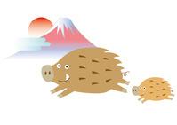 走るイノシシの親子と初日の出の富士