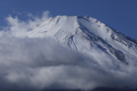 山梨県 山中湖から雲たなびく富士山