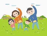 運動する家族