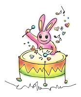 ウサギ 太鼓 ハート