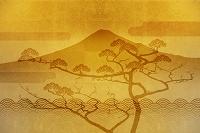 金屏風の富士山と羽衣の松