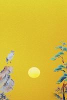 鶴と松の俳画と金屏風