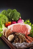 牛肉、海鮮と野菜