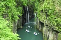 宮崎県 新緑の真名井の滝とボート