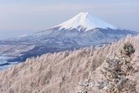 山梨県 降雪の稜線と富士山