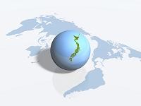 世界地図と日本地図の球体