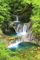 山梨県 西沢渓谷 七ツ釜五段の滝と新緑