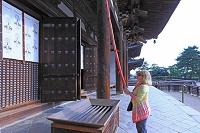 奈良県 興福寺 お参りする外国人