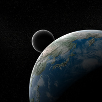 宇宙からのアジアと月