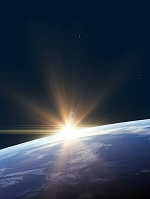 星が輝く宇宙から見た地球の夜明け