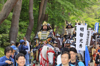 京都府 亀岡光秀まつり 亀山城跡を行進する武者行列
