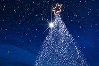 星空の中のクリスマスツリー