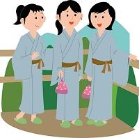 温泉旅行を楽しむ若い女性